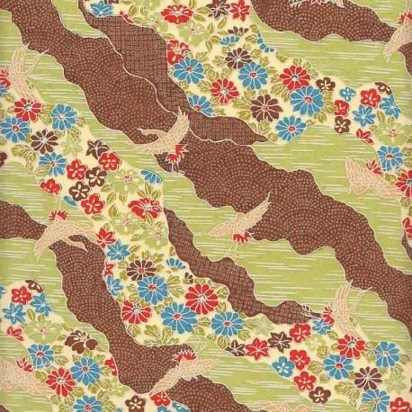 Papier japonais Rivière de fleurs sauge