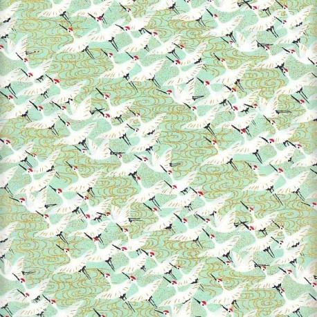 Papier japonais Petites Grues vert d'eau