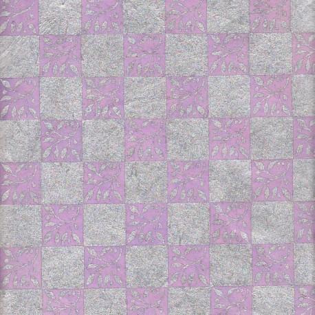 Papier népalais Carrés de brindilles lilas