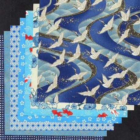Kit bleu 7 papiers Origami