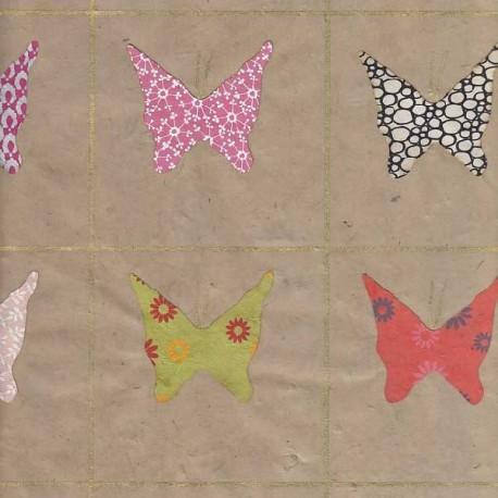 Papier népalais Papillons collés taupe