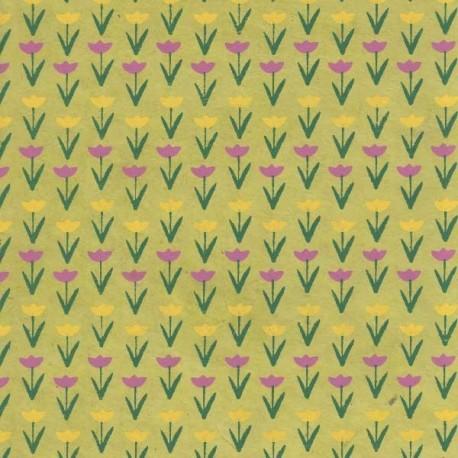 Papier népalais Tulipes sauge