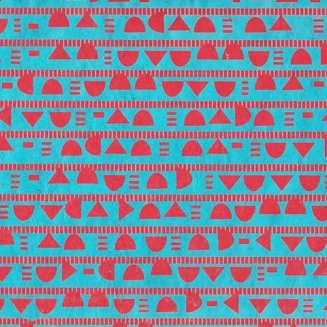 Papier népalais Géométrie turquoise