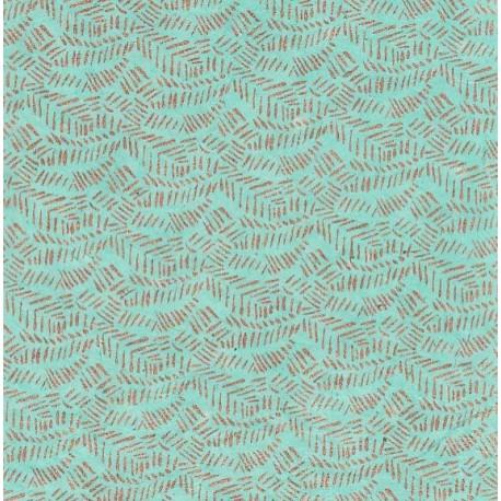 Papier népalais Empreinte d'ifs turquoise