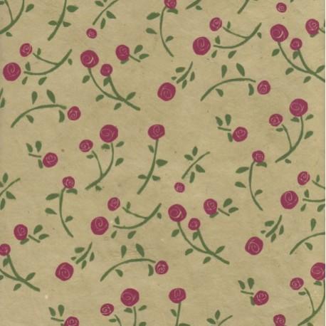 Papier népalais Roses olive