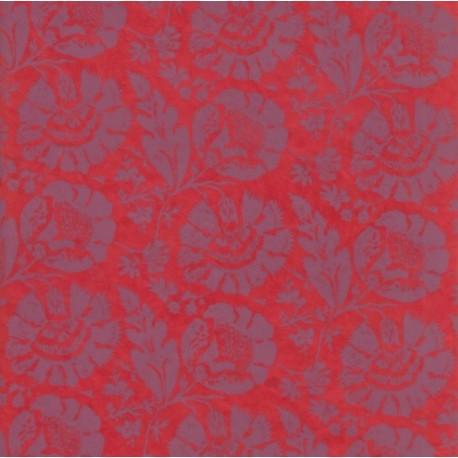 Papier népalais Fleurs de brocard rouge