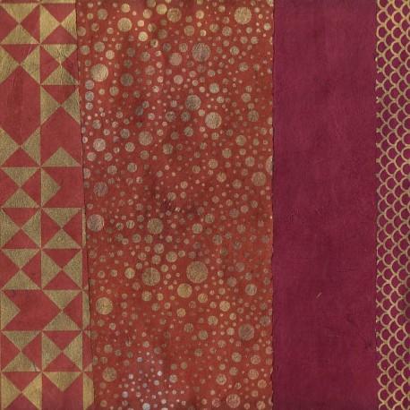 Papier népalais Patchwork prune