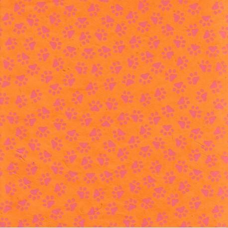 Papier népalais Promenade féline orange