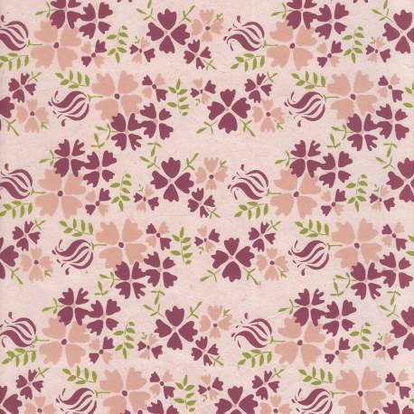 Papier népalais Oeillets de printemps rose