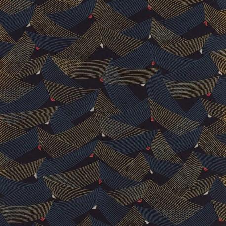 Papier japonais Vagues géométriques noir