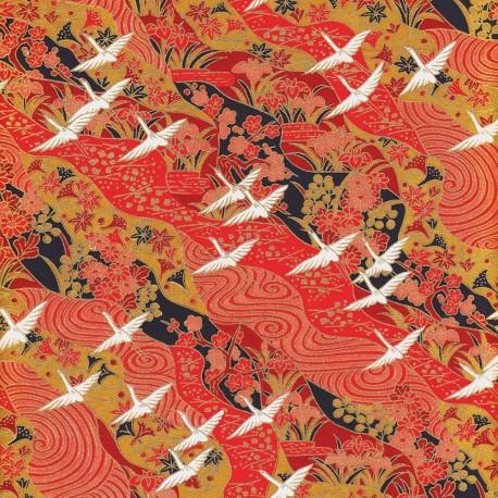 Papier japonais Grues rouge