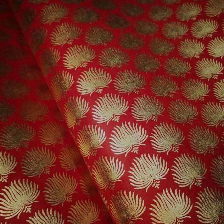 Papier népalais Palmes précieuses rouge