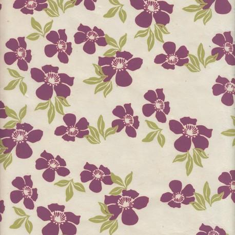 Papier népalais Fleurs de monoï rose pastel
