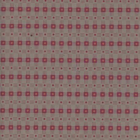 Papier népalais Grille de carrés kiwi